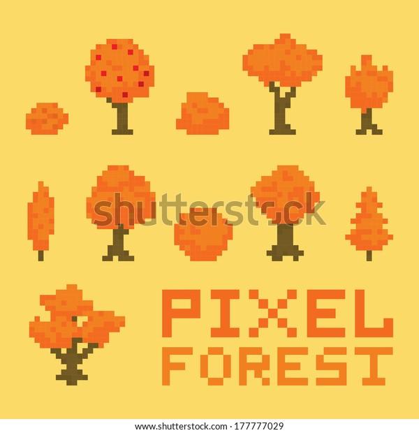 Image Vectorielle De Stock De Pixel Art Autumn Forest