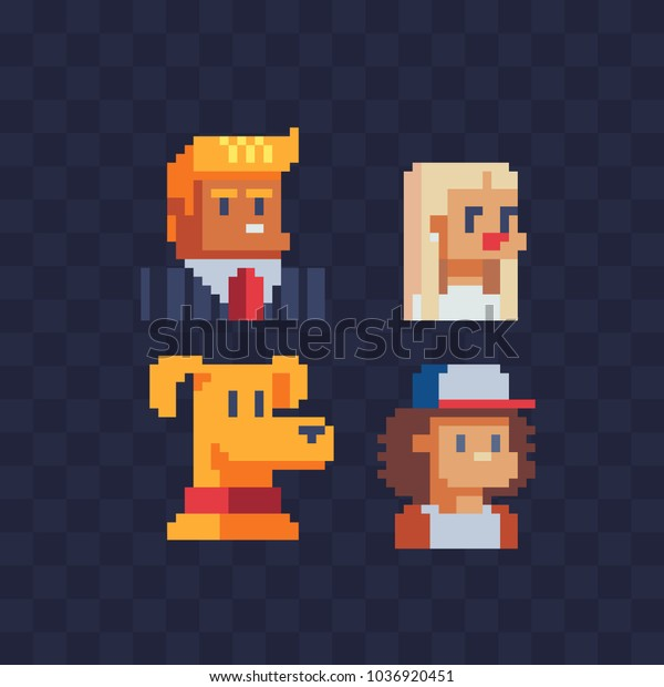 Pixel Art Avatar Profile Characters Set Stock Vector