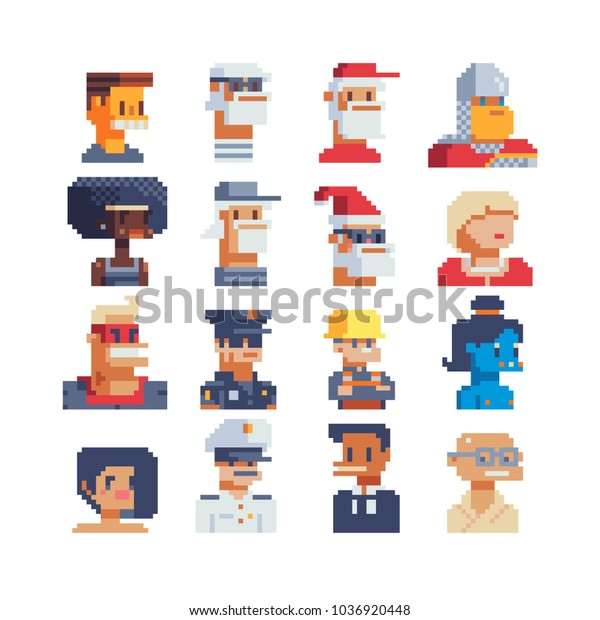 Pixel Art Avatar Profile Video Game Stock Vector Royalty
