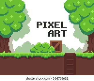 Pixel art background with grass, mud, crate, bush, hole with stairs and trees