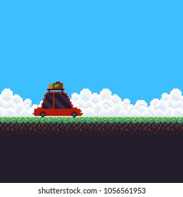 Pixel art background with grass, sky with clouds and travel car