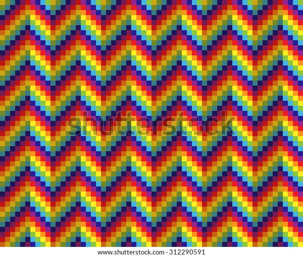 Pixel Art Background Rainbow Colored Waves Stock Vector