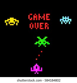 Pixel art background. Set of funny pixel monsters. Retro video games icons. Game over.