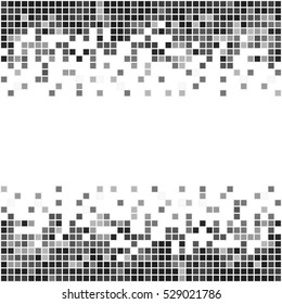 Pixel art banner with place for your text. Black and white abstract vector.