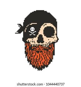 Pixel art bearded pirate skull