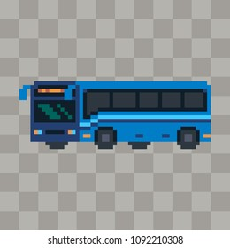 Pixel art blue bus vehicle icon.