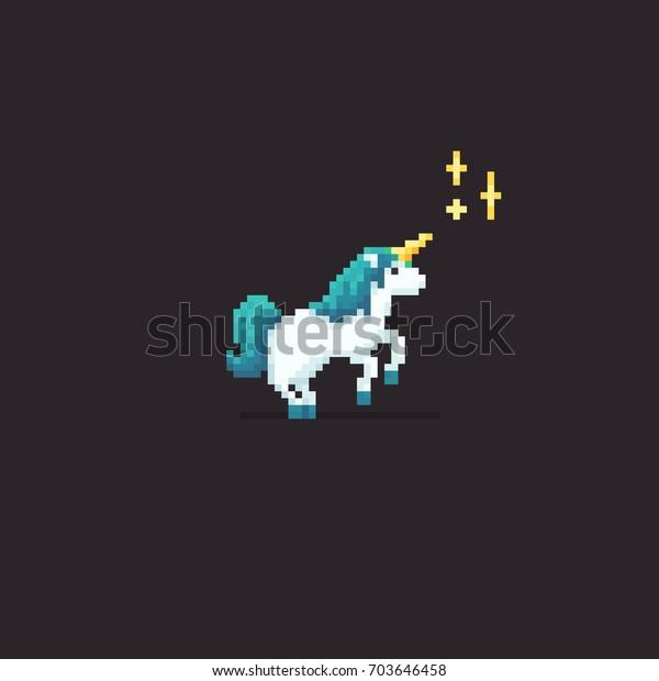 Image Vectorielle De Stock De Pixel Art Licorne Aux Cheveux