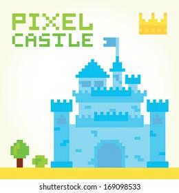 Pixel art boy castle isolated vector
