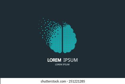 Pixel art brain logo. Vector logotype design.