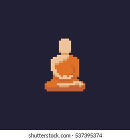 Pixel art buddhist monk meditating in lotus pose