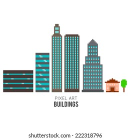 Pixel art buildings, skyscrappers and small house isolated on white background