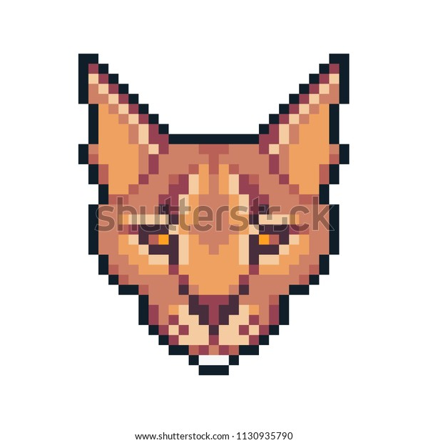 Pixel Art Caracal Isolated On White Stock Vector Royalty