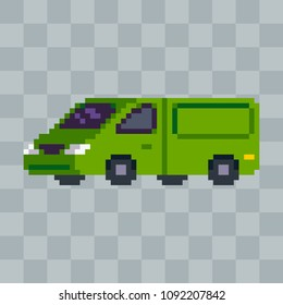 Pixel art cargo truck vehicle icon.