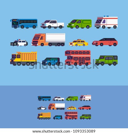 Pixel art cars. Different tipe of vehicle vector icons set.