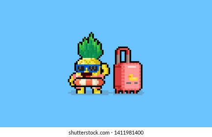 Pixel art cartoon summer pineapple character with luggage.8bit.