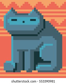 Pixel art cat. Vector illustration. Concept of 8 bit particles. Old video game style. Retro design