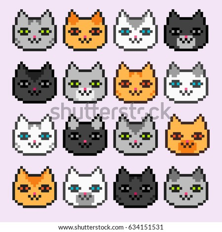 Pixel art cats icons: black, grey, white and red cat breeds.