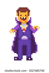 Pixel art character, scary cruel vampire isolated on white background. Dracula in violet costume and cape with red crystal pendant and stains of blood. Halloween monster. Dark gothic folklore creature