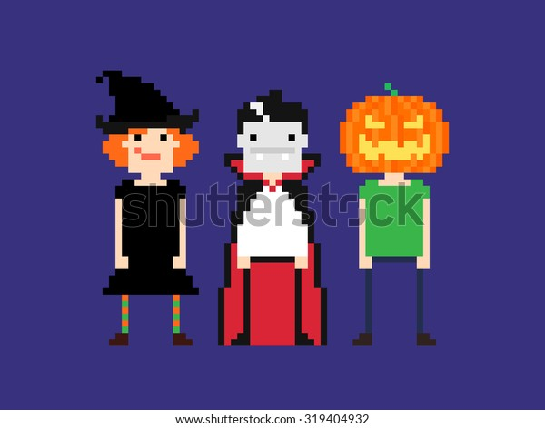 Pixel Art Characters Halloween Outfit Witch Stock Vector