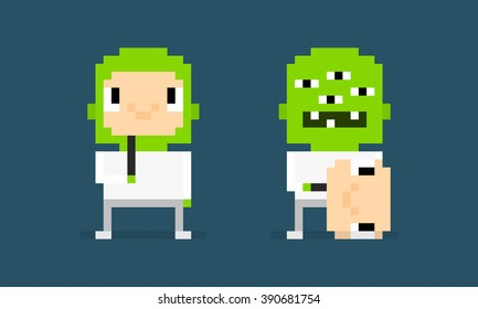 Pixel art characters, pretender, alien hiding behind the smiling human mask, alien unmasked
