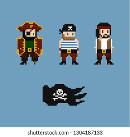 Pixel art characters set. Pirate crew members, captain in tricorne, cabin boy, sailor blue background. Black pirate flag jolly roger with skull and bones. 8-bit design game assets. Vector illustration