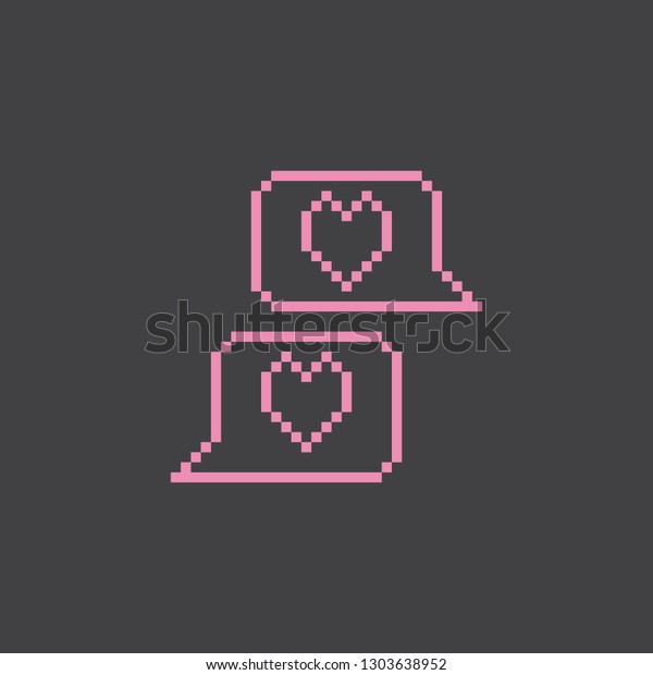 Pixel Art Chat Heart Vector Icon Stock Vector Royalty Free