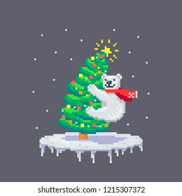 Pixel art cheerful white bear climb on a christmas tree. Cute greeting illustration on holidays.