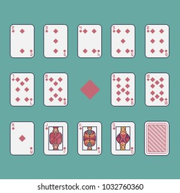 Pixel art clubs playing cards vector set.