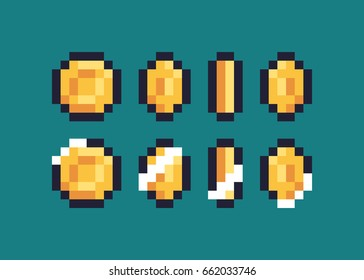 Pixel art coin step by step flipping animation sprites