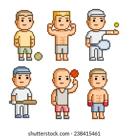 Pixel art collection of different characters athletes