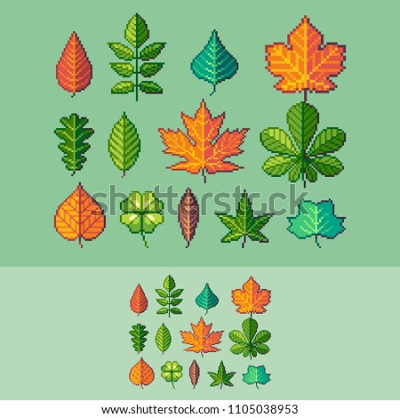 Pixel art common trees leaves vector icons set.