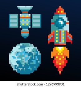 Pixel art computer space game objects. Video game 8-bit pixel rocket, pixel planet and pixel artificial satellite. Space shuttle. Arcade video game