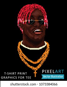 Pixel art - cool swag image, rnb rapper face, print for t-shirt, graphics for tee, illustration for clothes. Awesome pixalate rapper head with pink dreads. Vector illustration on black background
