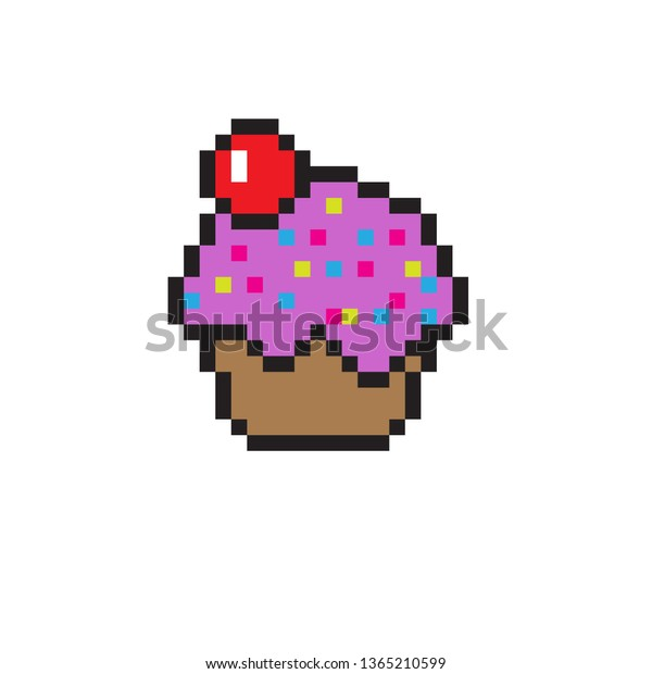 Pixel Art Cupcake Stock Vector Royalty Free 1365210599