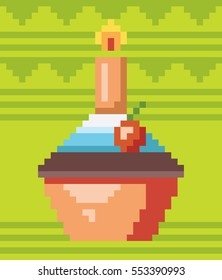 Pixel art cupcake. Vector illustration. Concept of 8 bit particles. Old video game style. Retro design