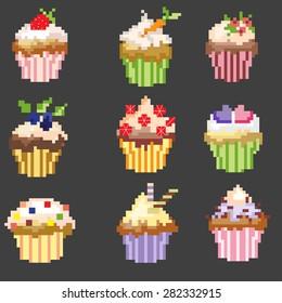 Pixel Art Cupcakes Stock Vectors Images Vector Art