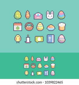 Pixel art cute easter vector icons set.