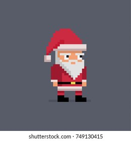 Pixel art cute santa claus. Vector illustration.