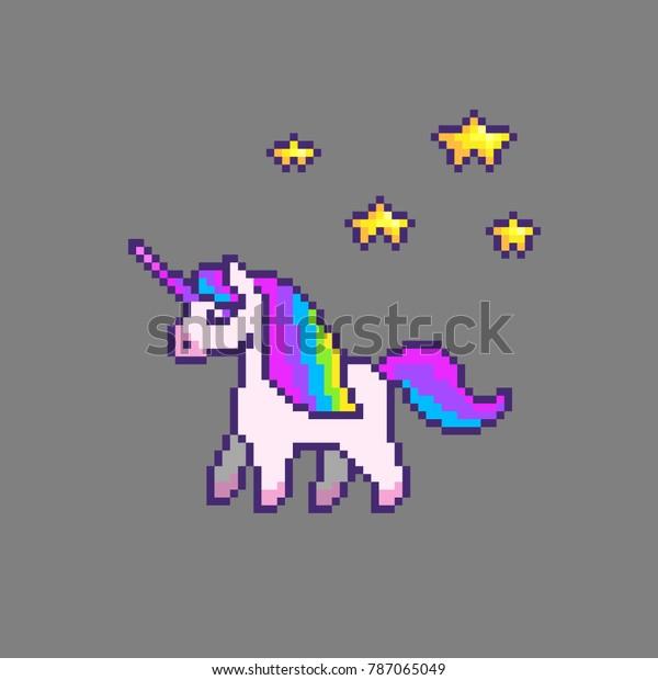 Image Vectorielle De Stock De Pixel Art Mignon Licorne Avec