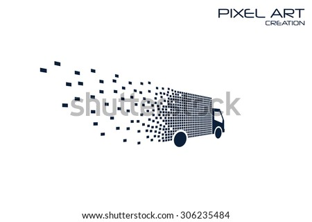Pixel Art Delivery Car Logo On Stock Vector Royalty Free 306235484
