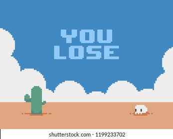 Pixel art desert background with clouds, cactus, skull and you lose text