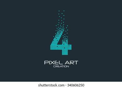 Pixel art design of the 4 number logo.