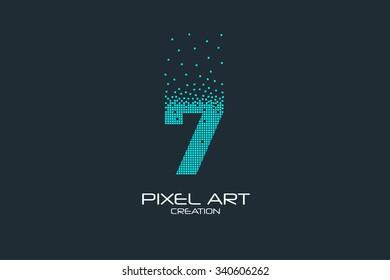 Pixel art design of the 7 number logo.