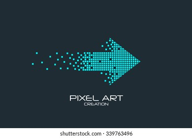 Pixel art design of the arrow logo.
