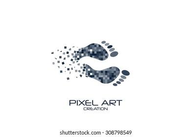 Pixel art design of the bare footstep logo.