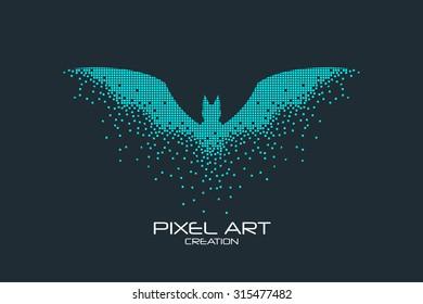 Pixel art design of the bat logo.