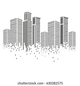 Pixel art design of building.Pixel art city. Modern design pattern. Vector illustration.
