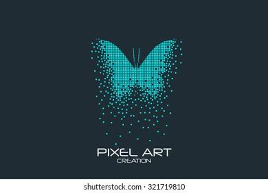 Pixel art design of the butterfly logo.
