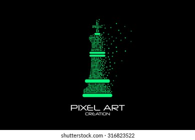 Pixel art design of the chess king logo.