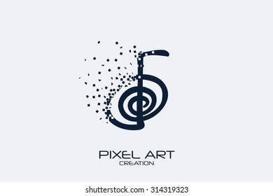 Pixel art design of the cho ku rei sign logo.